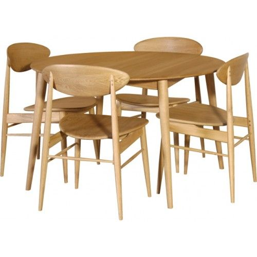 S Retro Oak Round Dining Table Set With Vibrant Style Muebles