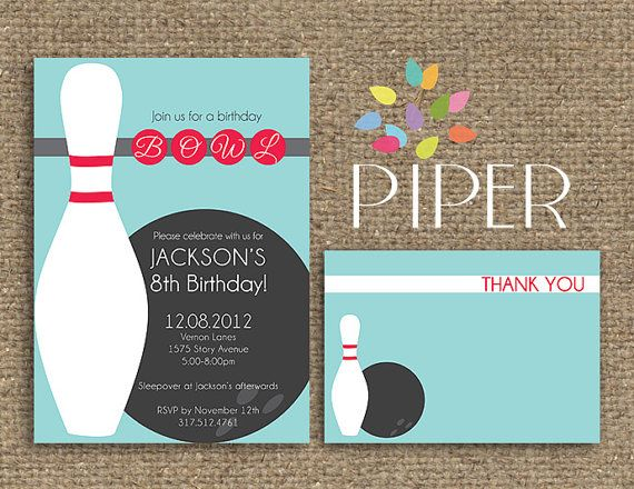 Birthday Bowling Invitation Piper Press Birthday by myPiperPress - bowling invitation