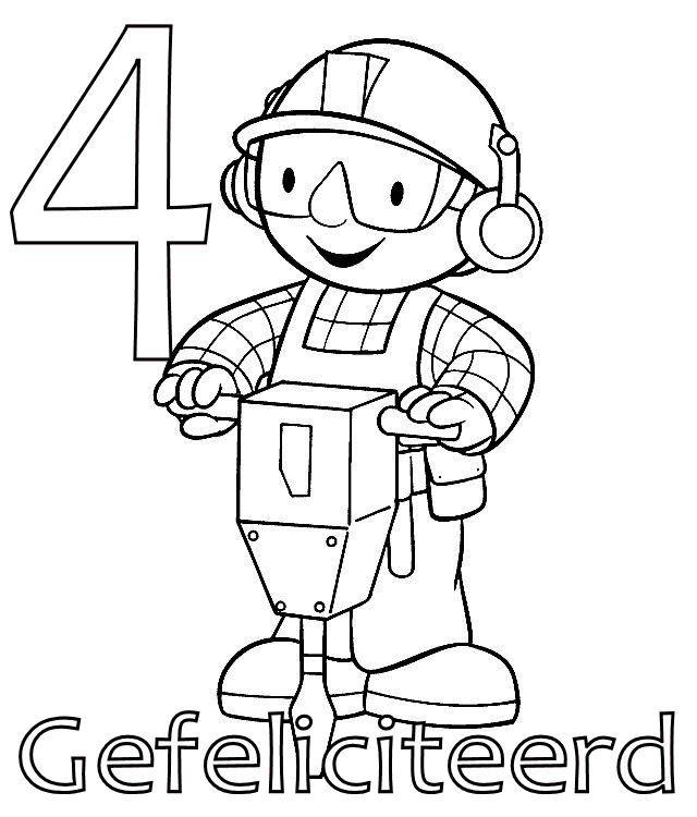 kleurplaat bob de bouwer verjaardag bob de bouwer 4 jaar