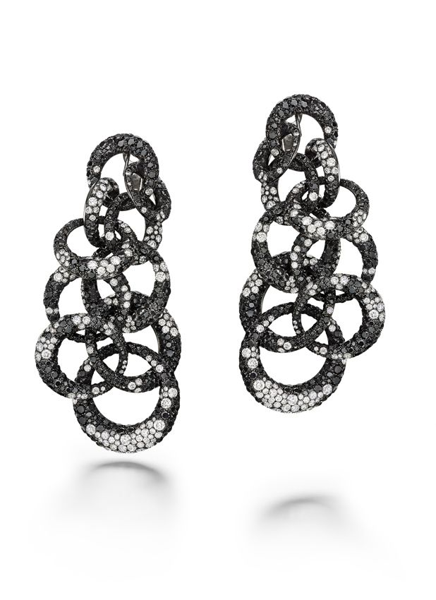 752fa50ff23d3 de Grisogono Anelli earrings with white and black diamonds set in ...