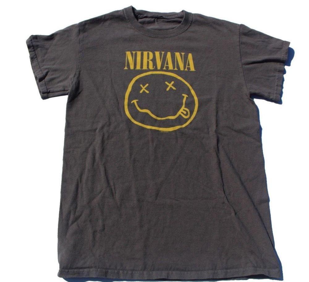 44568d45 Vintage Nirvana Smiley Face T shirt vtg 2003 punk band grey '03 rock medium  m #fashion #clothing #shoes #accessories #mensclothing #shirts (ebay link)