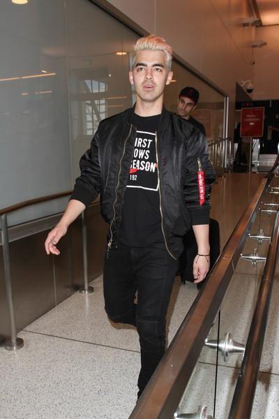 9e9ab14ca6b303 Joe Jonas spotted in his custom MA-1 Flight Jacket for DNCE.