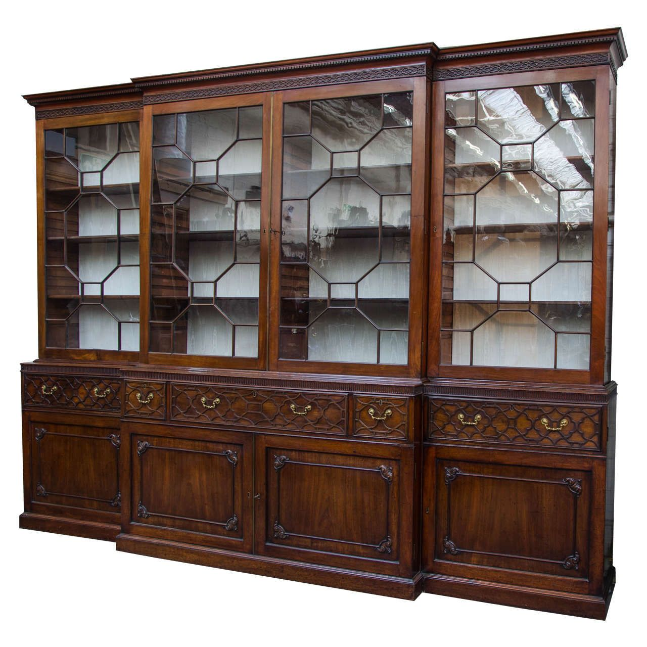 Large Mahogany Chippendale Period Breakfront Bookcase