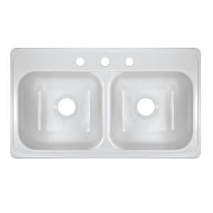 Lyons Industries Style J Top Mount Acrylic 33x19x9 3-Hole 50/50 Double Bowl Kitchen Sink in White-DKS01J-3.5 at The Home Depot  sc 1 st  Pinterest & Lyons Industries Style J Top Mount Acrylic 33x19x9 3-Hole 50/50 ...