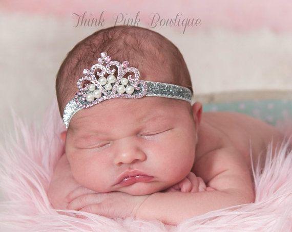 Pink baby bow tiara headband hair band for christening baptism wedding handmade