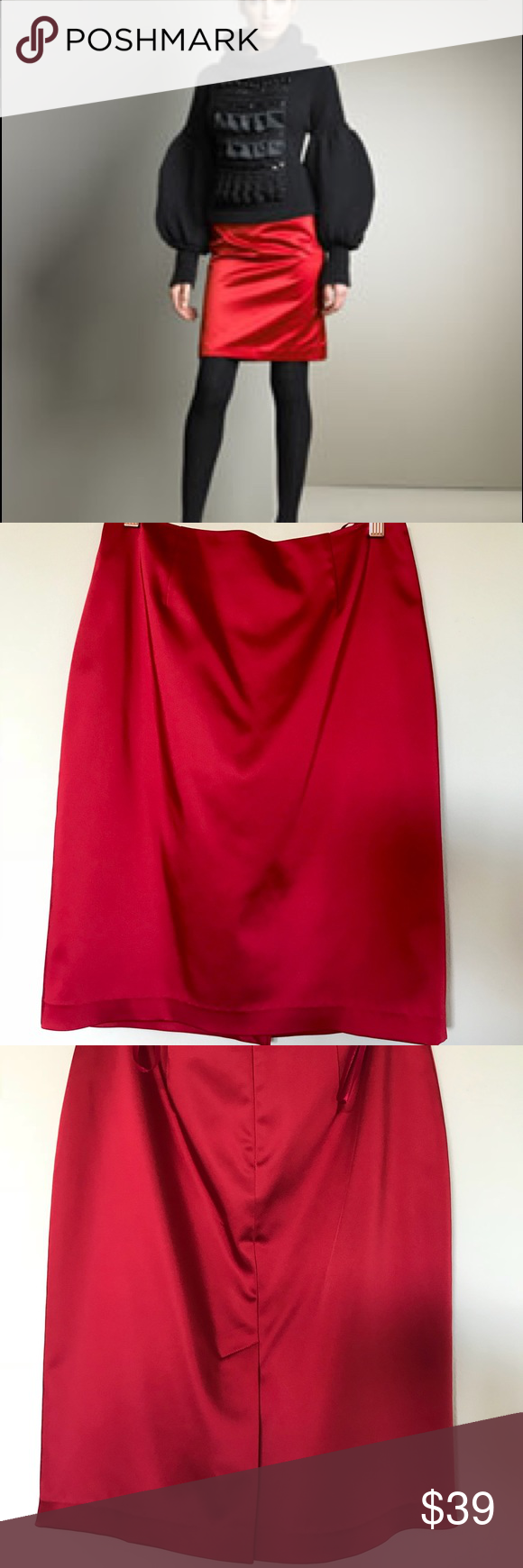 ad118c7a55 RED SATIN PENCIL SKIRT NWOT Luxury satin skirt, fully lined, NWOT, very  high quality fabric Aidan Mattox Skirts Midi