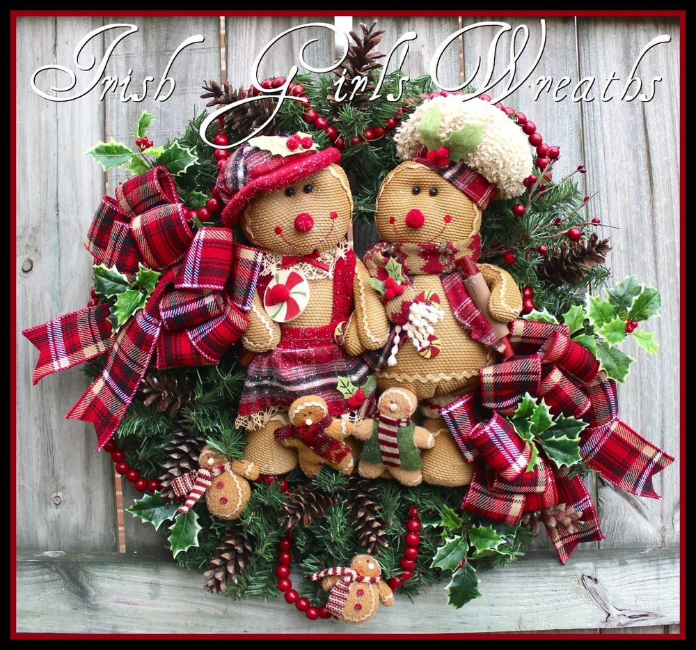 Rustic Gingerbread Family Christmas Wreath, large plaid flannel tartan cranberry