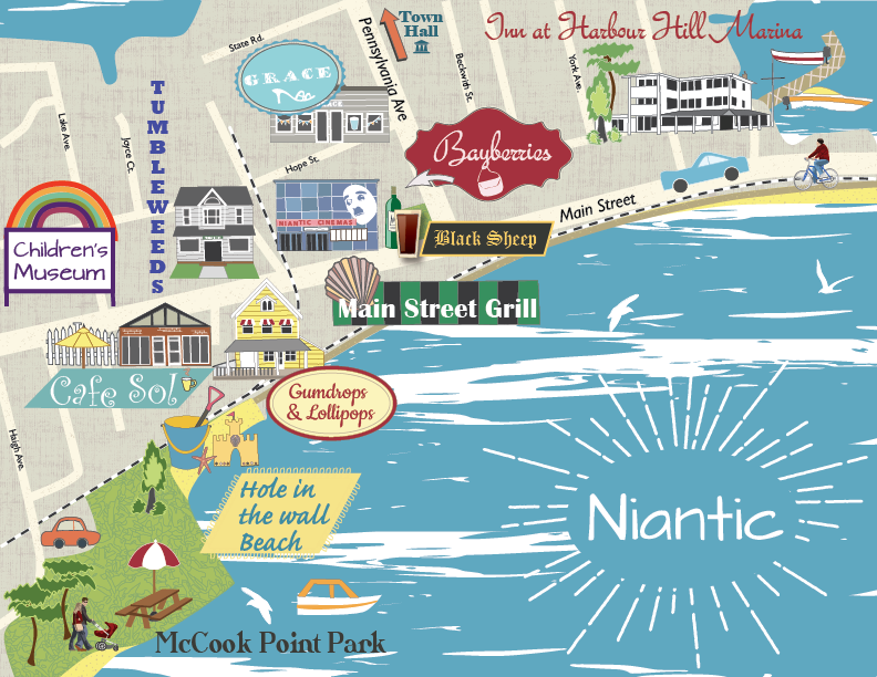 Niantic CT Attractions Map maps Pinterest