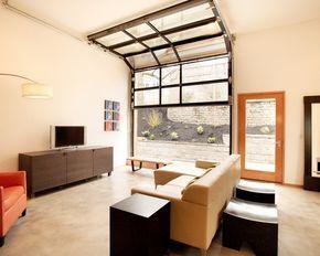 How To Transform A Garage Into A Living Space On A Budget Roll Up Garage Door Modern Studio Apartment Ideas Glass Garage Door