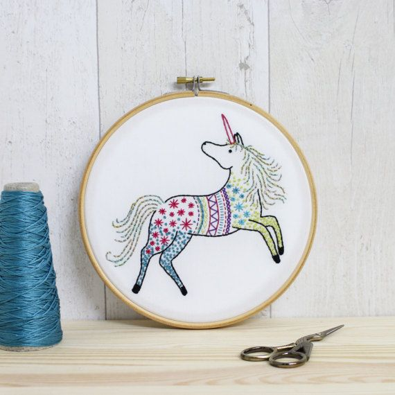 Unicorn Embroidery Kit, Embroidery Design, Nursery Decor, Hand ...