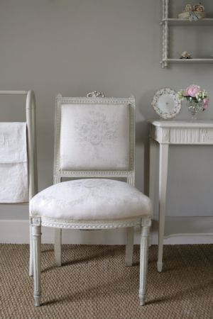 Kate Forman   Kate Forman Fabric Collection   Classic White Padded Chair  With Faint Grey Flower