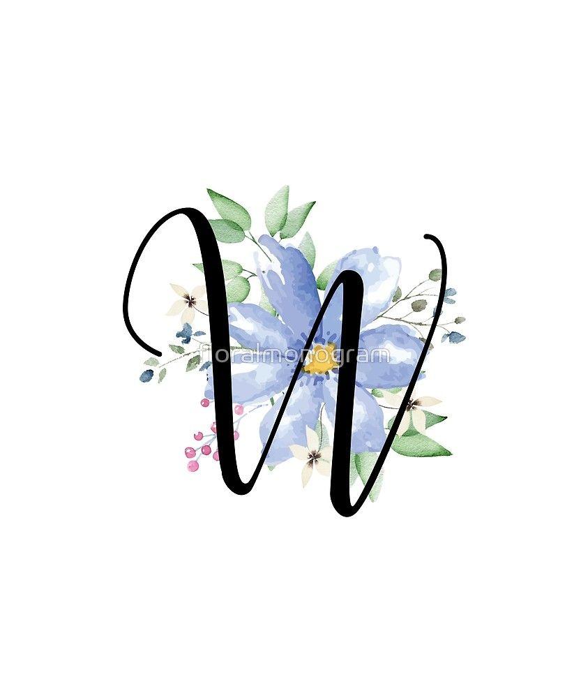 Monogram W Beautiful Watercolor Blue Flower Sticker By Floralmonogram In 2021 Blue Flowers Flower Letters Lettering Alphabet