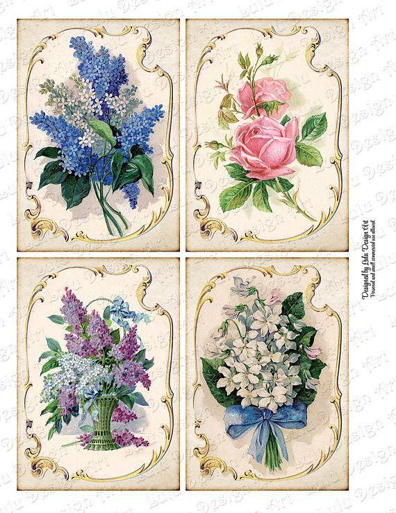 Vintage Floral Postcards Digital Paper Printables Digital Collage Sheet