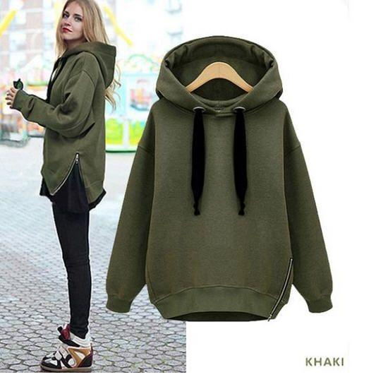 Sweatshirt Frauen Hoody Marke Armee Grün Plus Größe Lose Sweatshirts Dicke Fleece Hoodies Lässige Pullover Kostenloser Versand A183