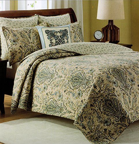 Amazon.com: Cynthia Rowley Bedspread 3pcs Full/Queen Cotton Quilt Set  Reversible Dusty Blue Green Beige Sage Ivory Damask Paisley Scroll  Medallion Quilted ...