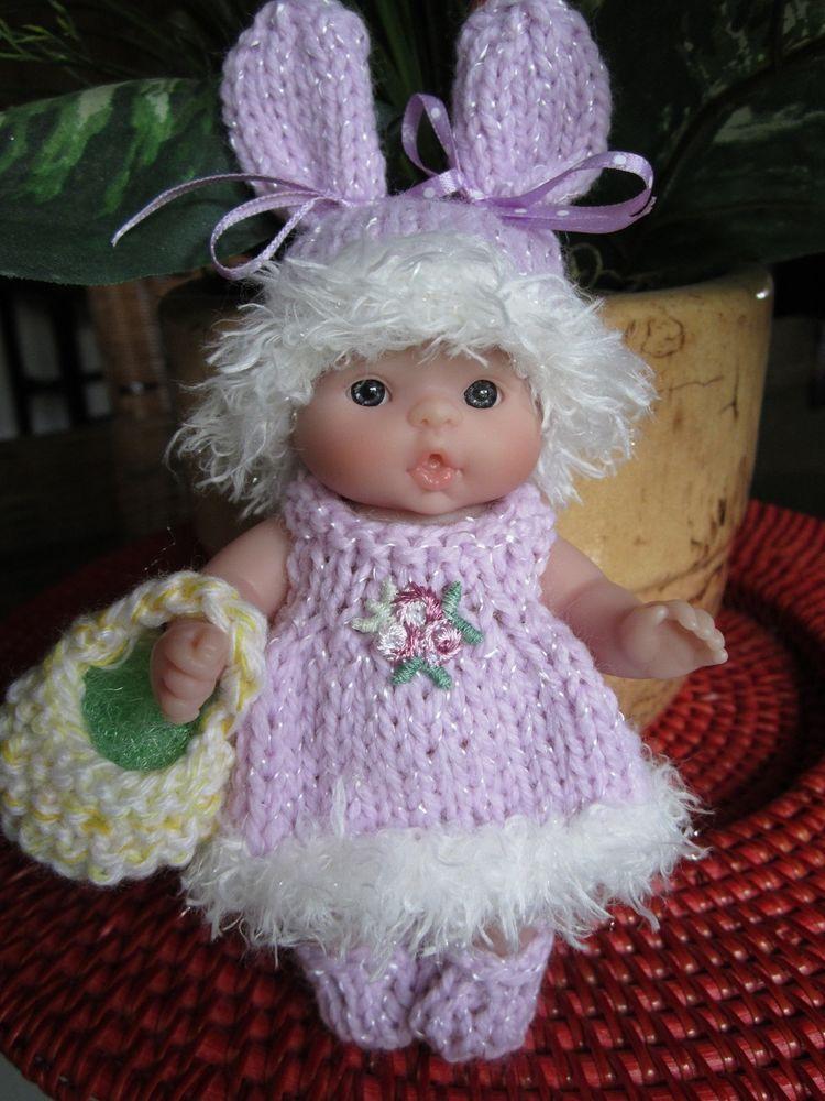 Fluffy Bunny Dress Set For Berenguer 5 Inch Easter Basket Knit Doll