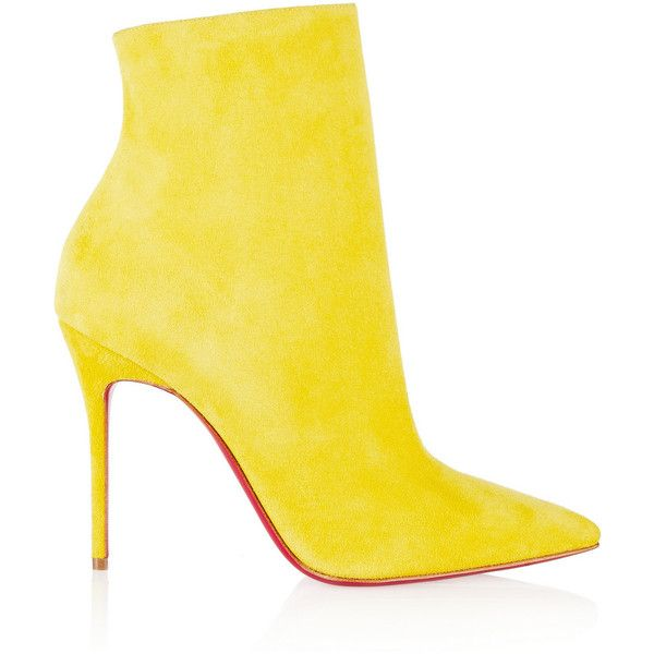 Christian Louboutin So Kate 100 suede ankle boots ($530) ❤ liked on Polyvore featuring shoes, boots, ankle booties, heels, scarpe, yellow, suede boots, high heel ankle boots, heeled ankle boots and suede ankle booties