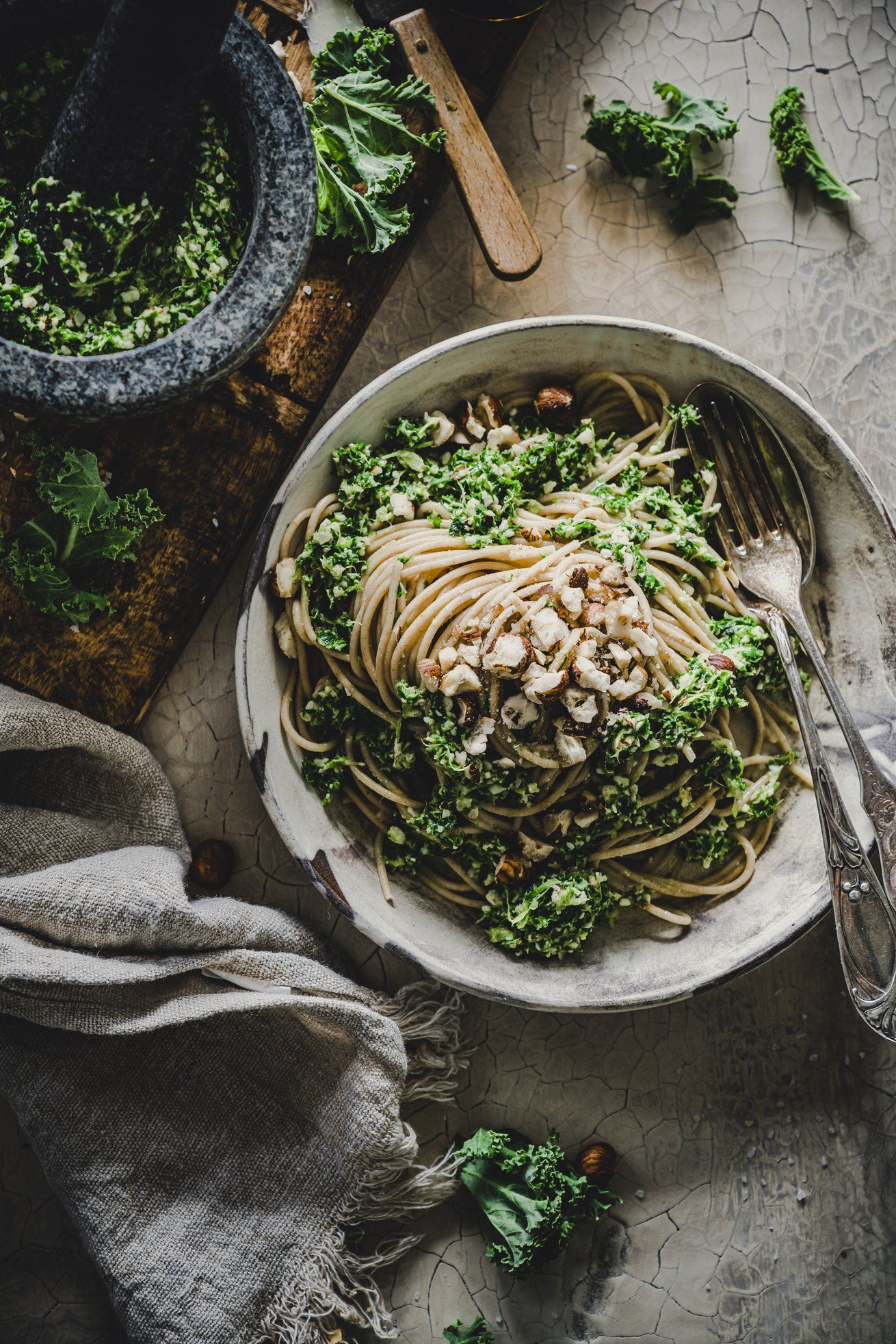 Photo of Wholemeal spaghetti with kale and hazelnut pesto