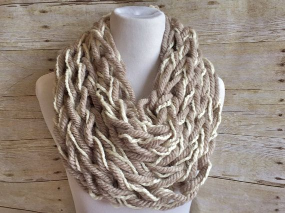 Knitting Loop Scarf : Knitted cowl scarf chunky arm knit loop super bulky