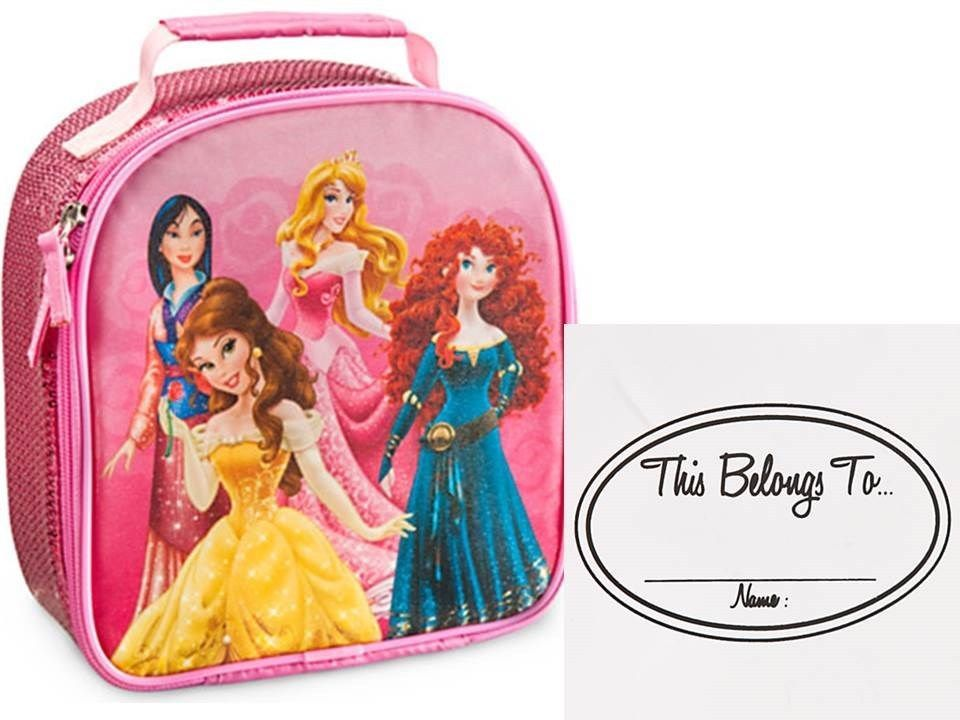 DISNEY Multi Princesses LUNCH BOX TOTE SPARKLE PINK BELLE MULAN MERIDA  AURORA  DisneyStore a8b532313595a