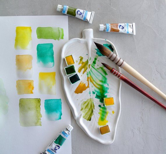 Ceramic Palette For Painting Palm Leaf Watercolor Palette
