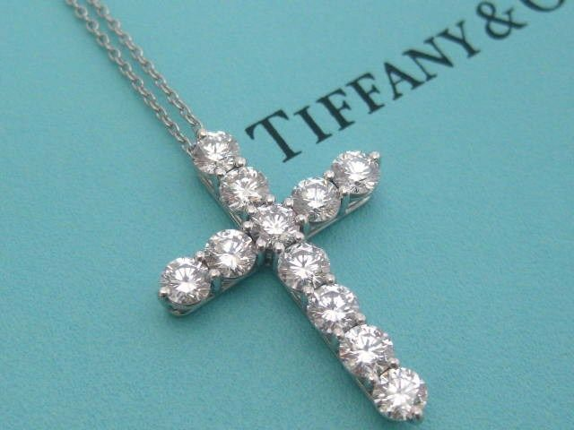 086adc499 TIFFANY & CO. DIAMOND CROSS NECKLACE PLATINUM LARGE MODEL 1.71 TCW ...