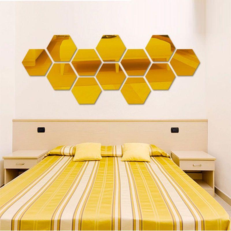 Three-dimensional hexagonal 7 Piece Wall Decoration Acrylic Mirrored ...
