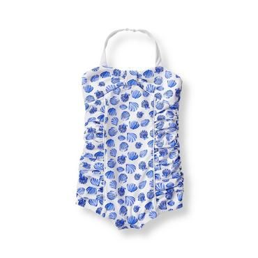 Baby Girl Island Blue Shell Shell Print Swimsuit at JanieandJack