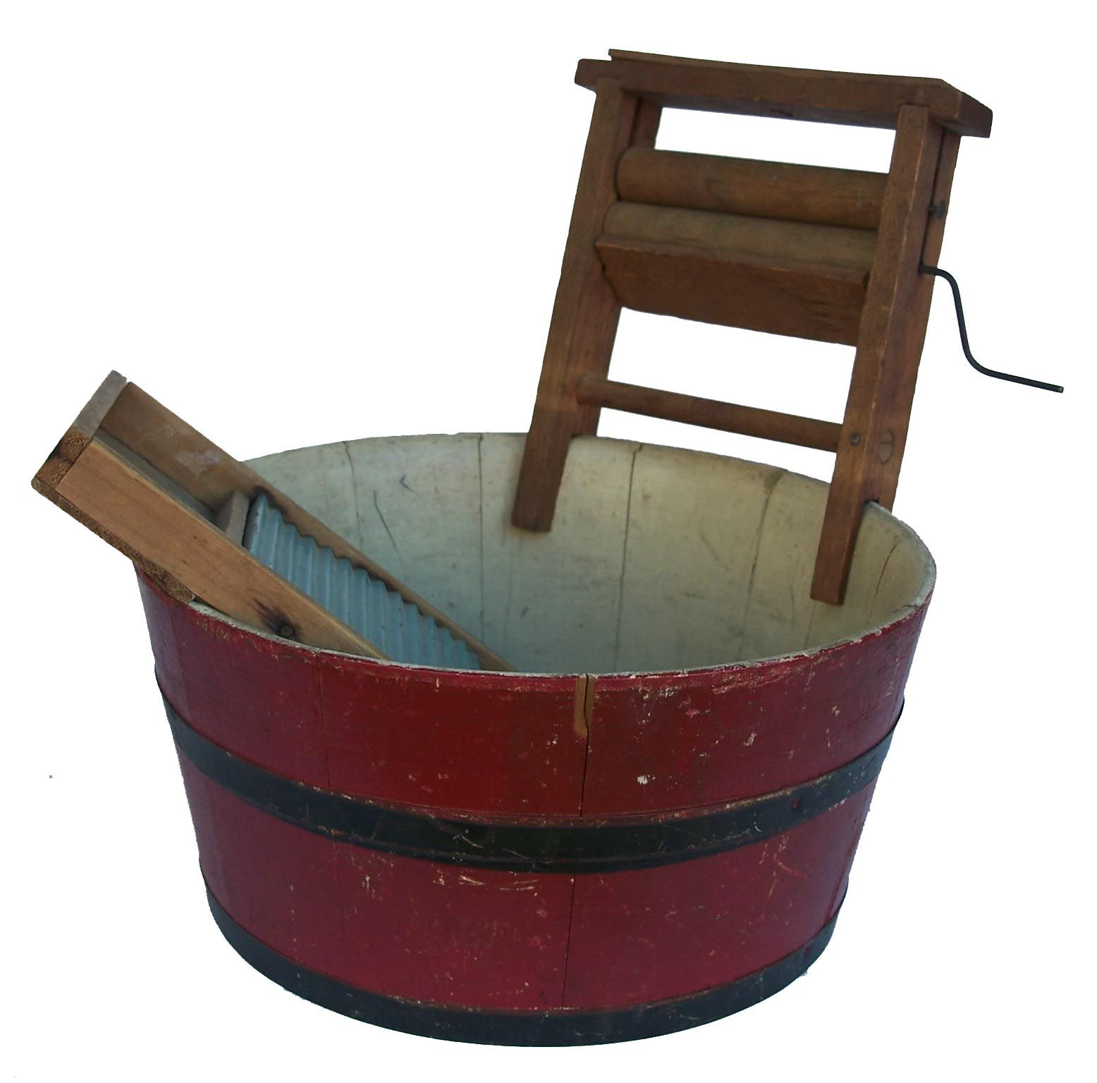 19th century wooden Wash Tub, with great red paint, with wash ...