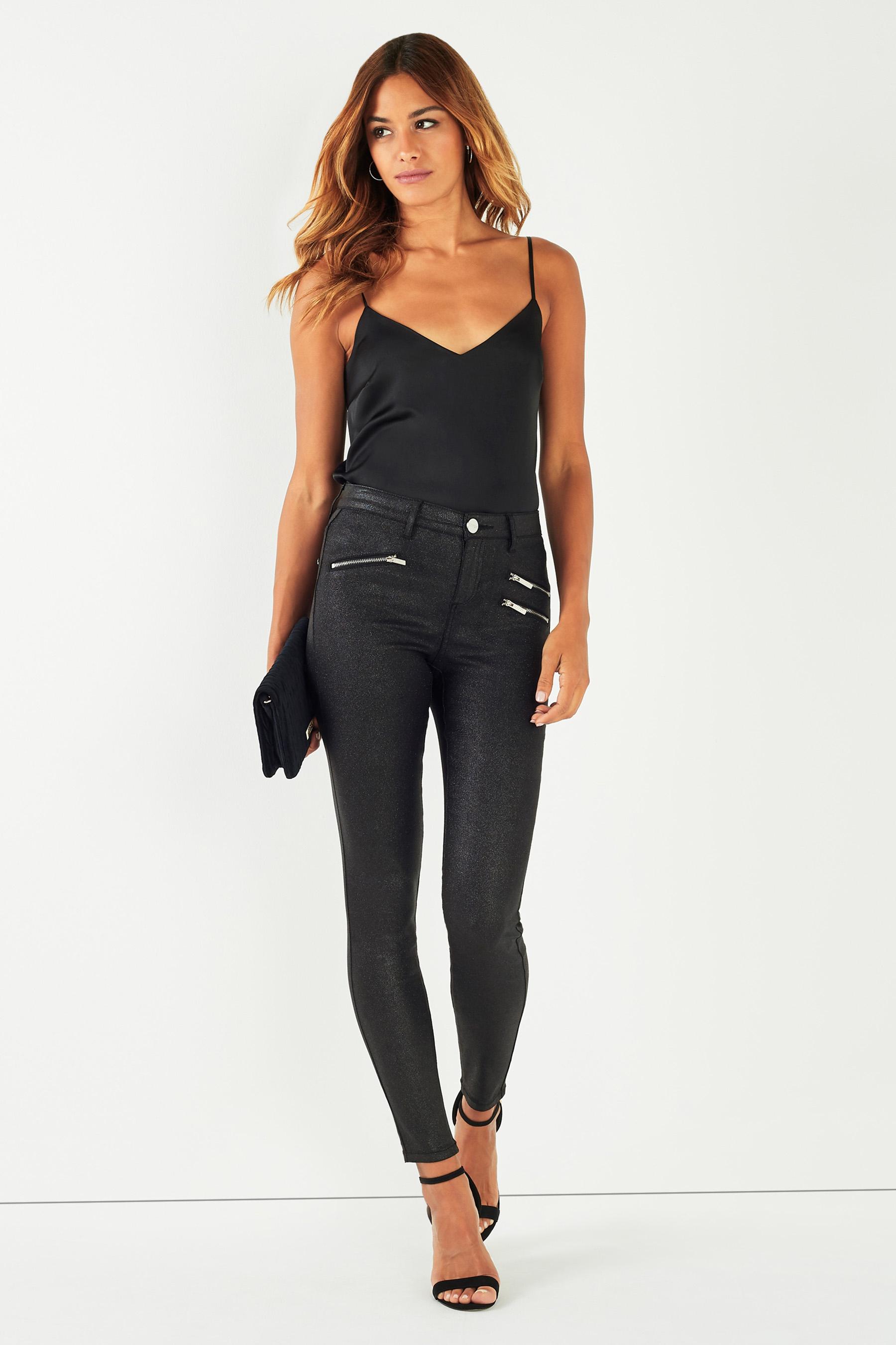 30b77c4401070d Womens Lipsy Kate Mid Rise Skinny Premium Glitter Coated Regular Length  Jeans - Black