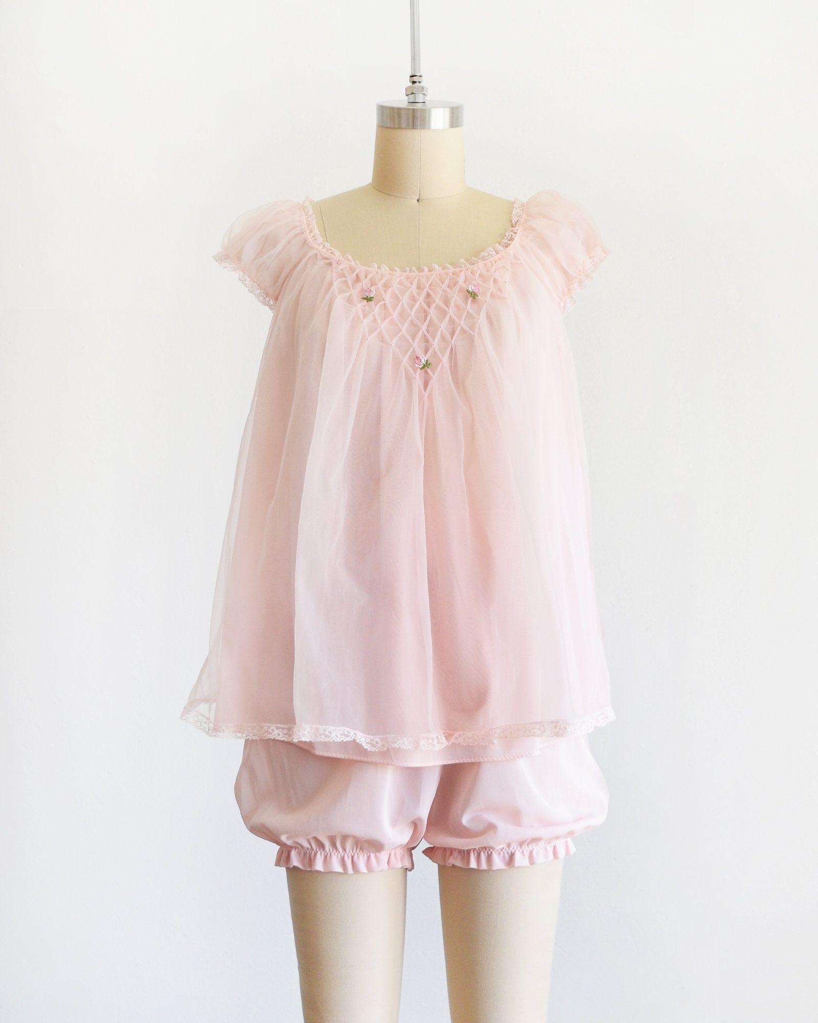 4a1e54d1075 60s pink chiffon lingerie set