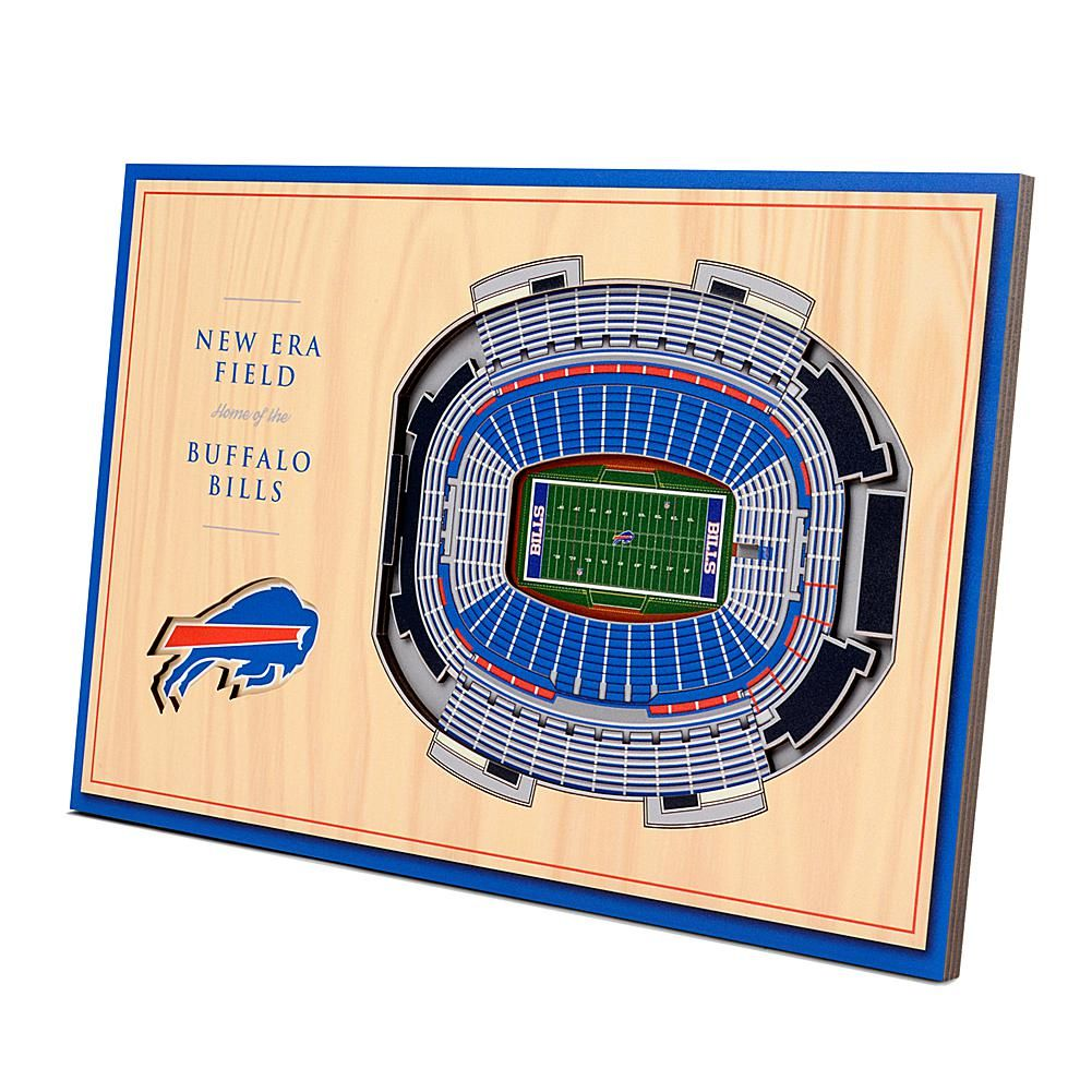 Officially Licensed NFL 3-D StadiumViews Desktop Display - Buffalo Bills - New Era Field Display your team pride by taking it up a level with the Buffalo Bills 3-D Desktop StadiumView Display. This handcrafted New Era Field is perfect for sports fans of all ages. There's nothing flat about these displays. They're made up of multiple layers that form a 3-D look that literally stands out among all others.