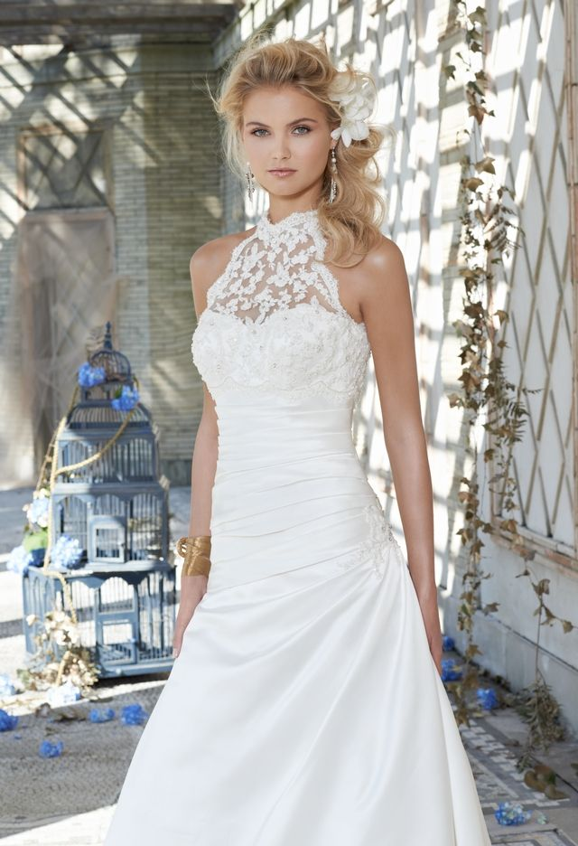 Wedding Dresses - Satin Wedding Dress with Beaded Lace Halter from ...