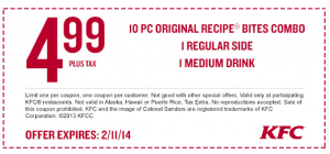 KFC Coupon 10Piece Original Recipe Bites Combo, Regular
