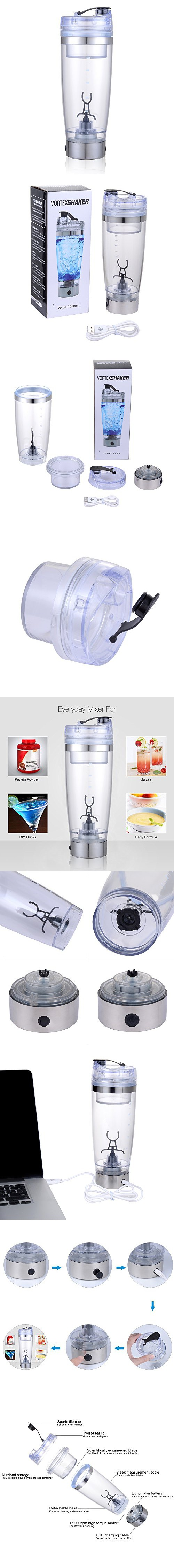 USB Rechargeable Protein Shaker Bottle Electric Vortex Mixer Cup