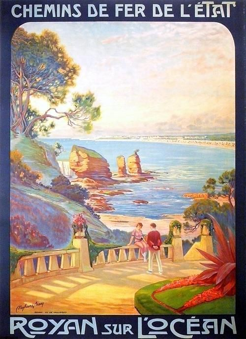 Chemins de Fer de L'Etat, French Railroad Travel Poster, c. 1923, art by Stephane Brecq #affiche #plage #essenzadiriviera www.varaldocosmetica.it/en