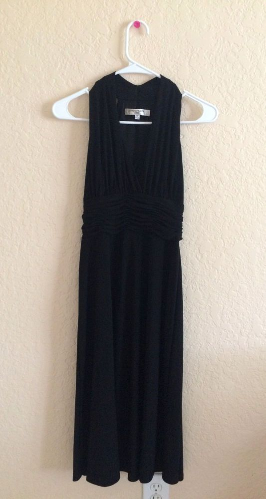Evan Picone Black Marilyn Halter Dress Size 4 Petite Evanpicone
