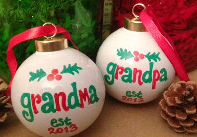 NEW GRANDMA or GRANDPA Christmas Ornaments, Est. Year, Cute Pregnancy Announcement - Hand Painted #newgrandma