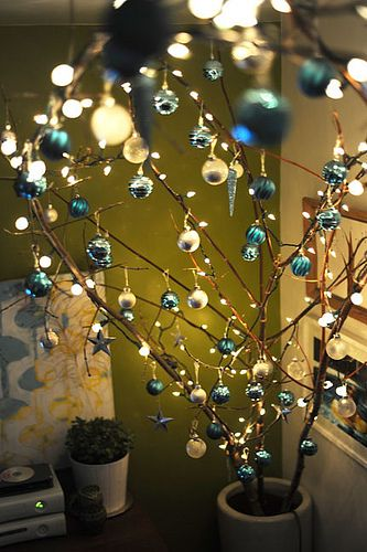 Bare Branches With Ornaments Christmas Branches Different Christmas Trees Christmas Decorations
