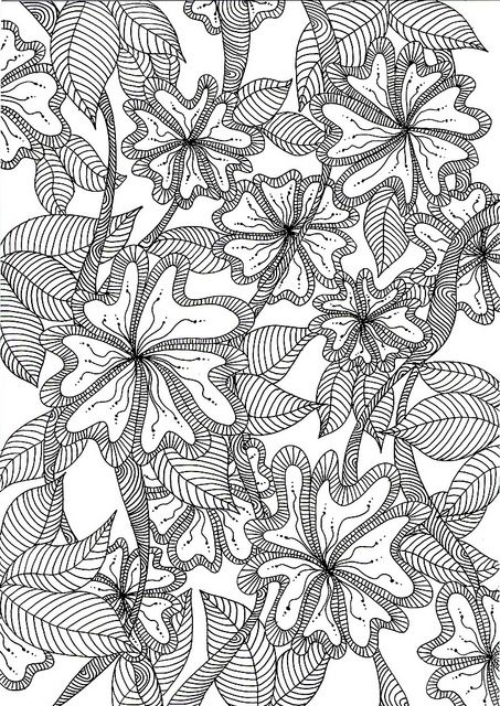 Coloriage Adulte Jungle.Jungle Flowers Abstract Zentangles Paisley Etc To Color