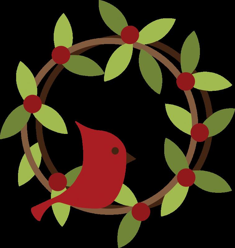 Bird On Wreath SVG File Christmas wreath clipart