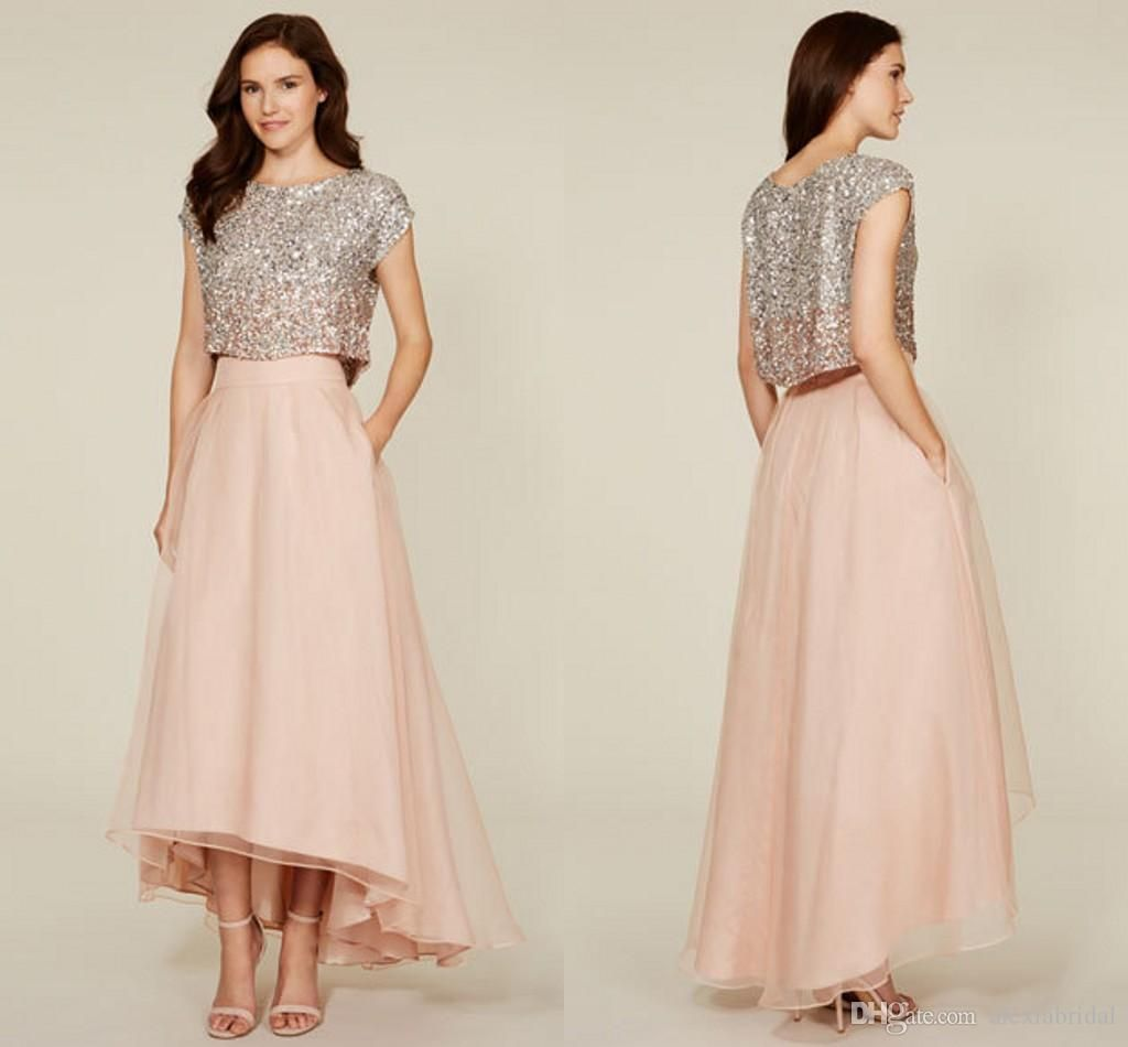 Fashione two pieces bridesmaid dresses sequins tank tulle skirts a