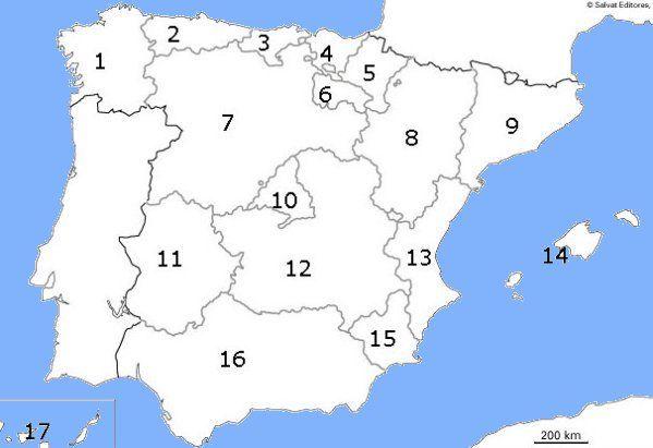 Mapa Numerado Mapa De España Comunidades De Aprendizaje Mapa De Geografía