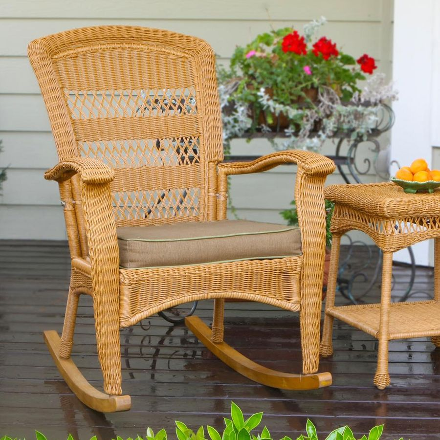 Wicker · LOWES $229 Tortuga Outdoor Portside Southwest Amber Wicker Rocking  Chair