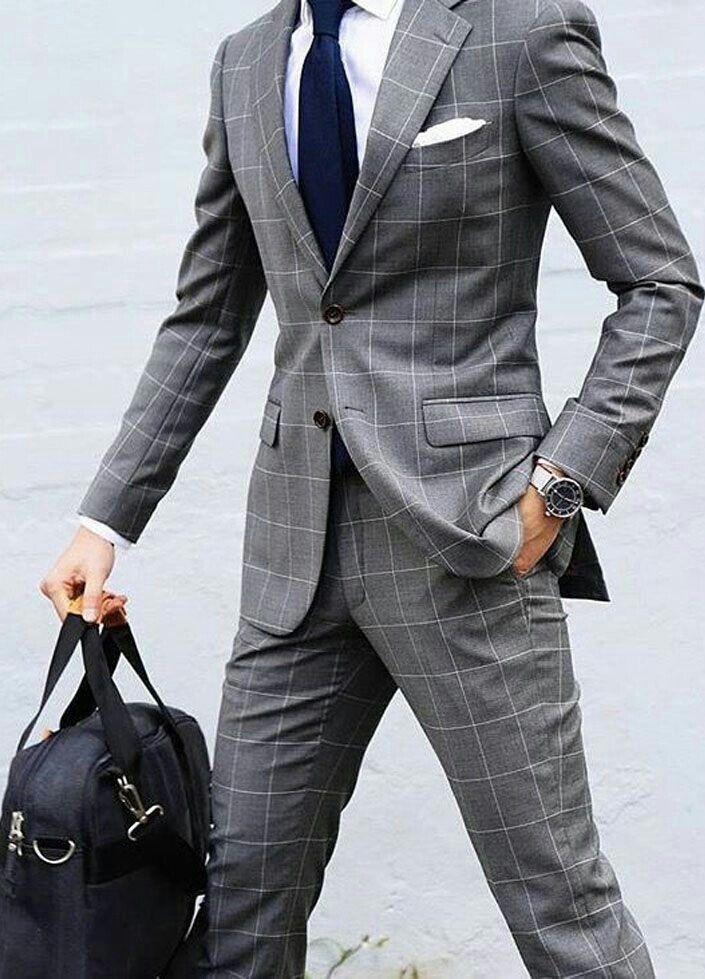 Grey Window Pane Suit Mannenoutfit Stijlvolle Man Pak