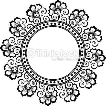 Floral Patterns Retro Circle Border Designs