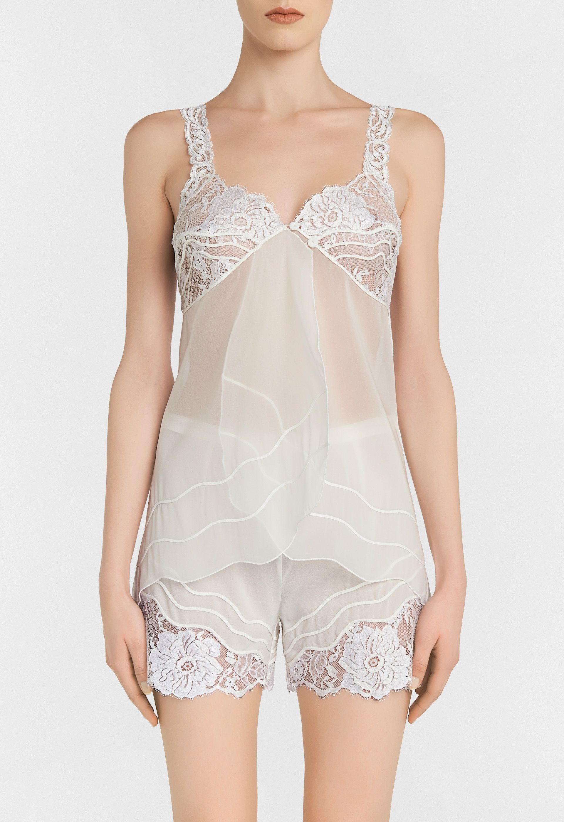 cb44201148 Off-white organza pyjama top with Leavers lace and soutache embroidery -  CFIPLM0011660 BNA017