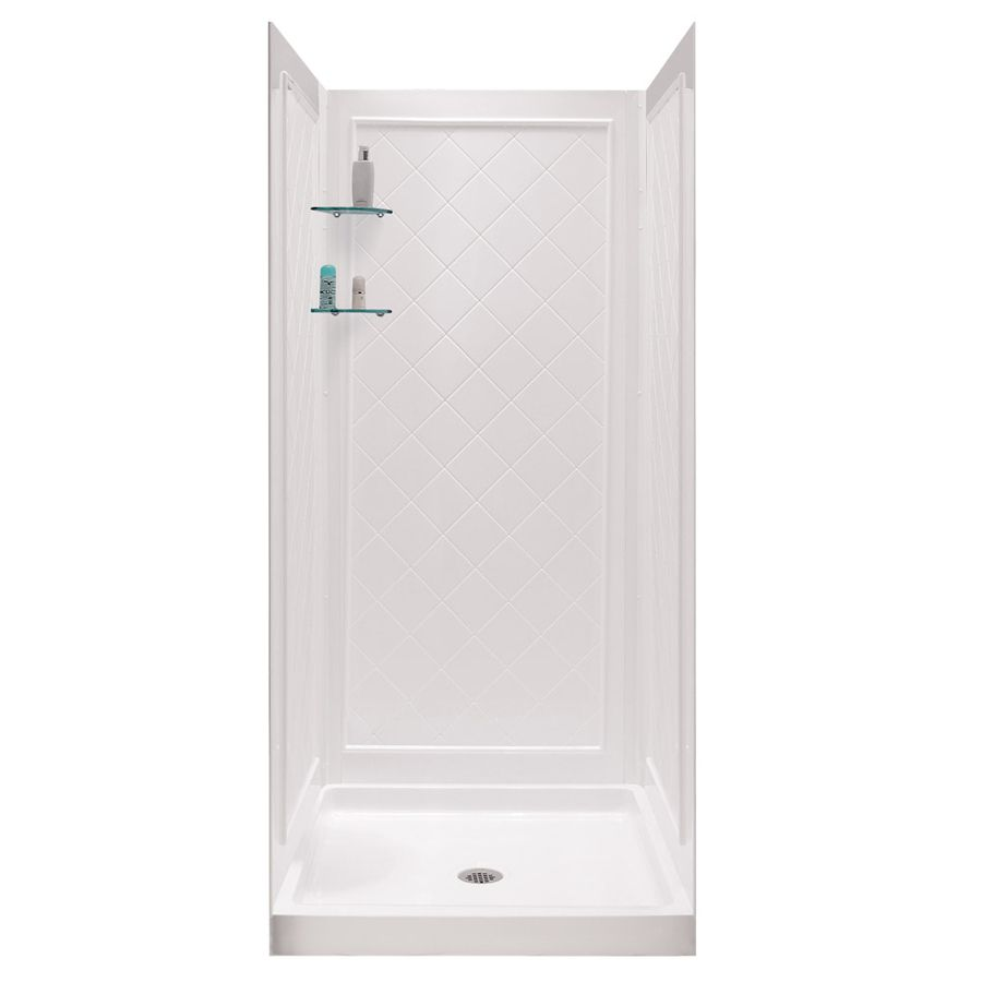 Dreamline Shower Base And Back Walls White Acrylic Wall Floor 2 Piece Alcove Kit Common 32 In X Actual 76 75