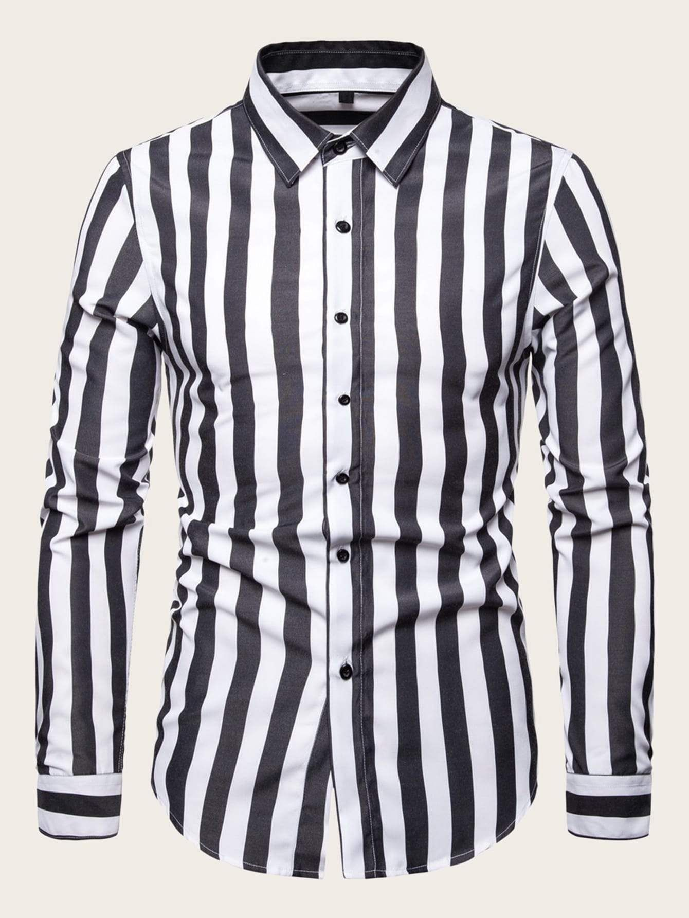 Men Black & White Vertical-Striped Shirt | Vertical ...