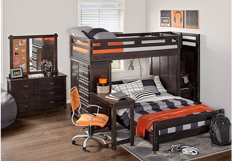 Creekside Charcoal Twin Full Step Bunk Bed With Desk And Chest
